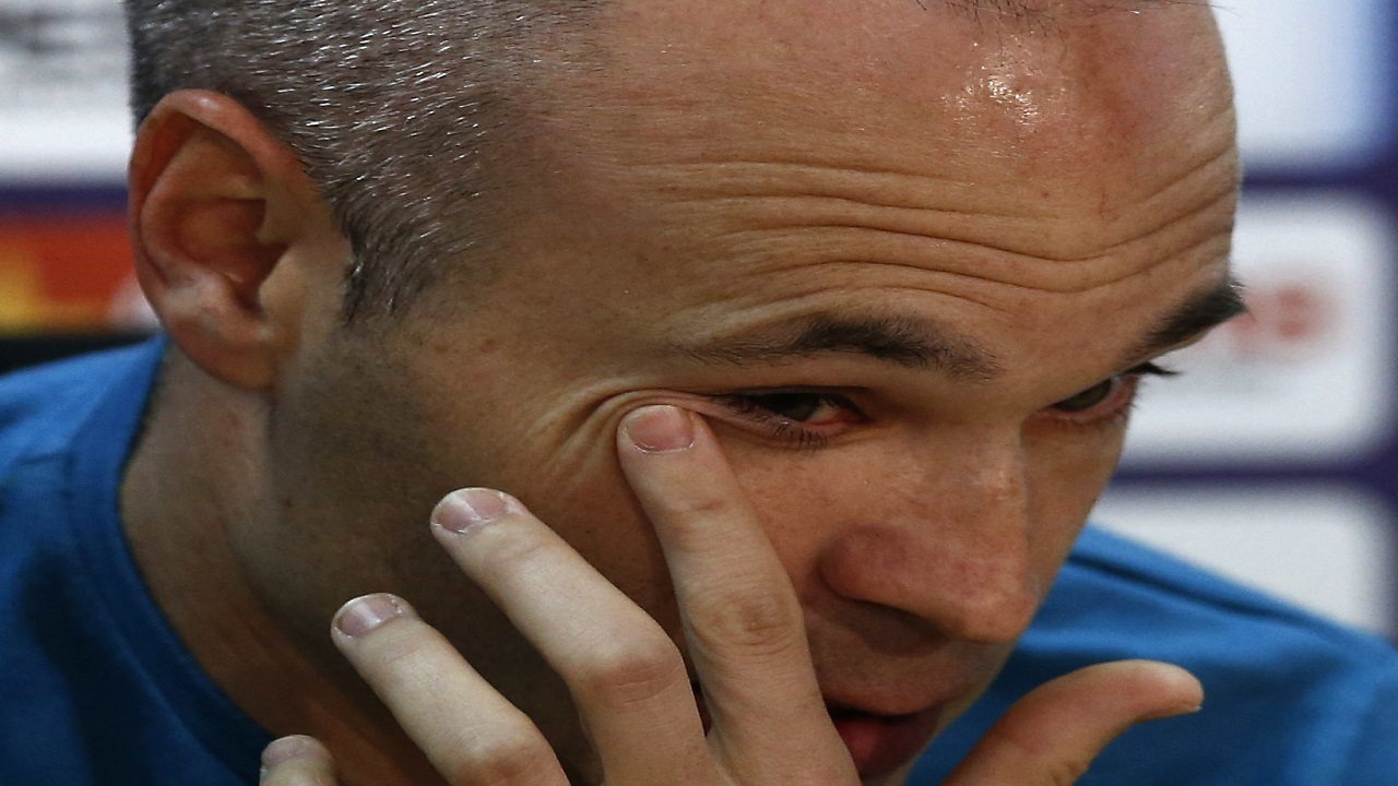 Barcelona player Andres Iniesta speaks during a news conference announcing he is leaving the club, in Barcelona, Spain, Friday, April. 27, 2018.
