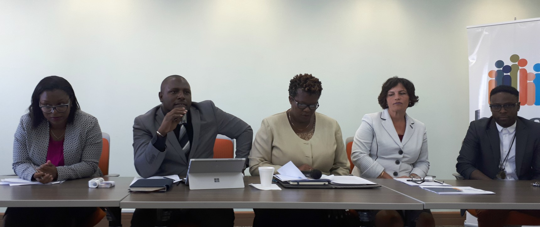 (L-R) Director of Clinical Services, Shanae Gill; Executive Director, Anderson Langdon; President, Ruth Phillips; Chief Financial Officer, Sonya Alleyne; Ambassador, Kirk Brown.
