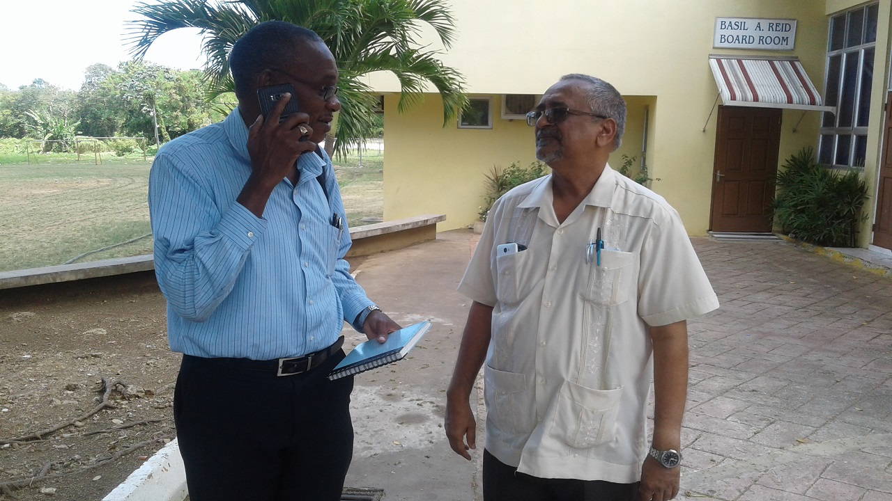 Dr Delroy Fray (r) and Anthony Smickle, chief executive officer of the Cornwall Regional Hospital ahead of talking to journalists on Tuesday.