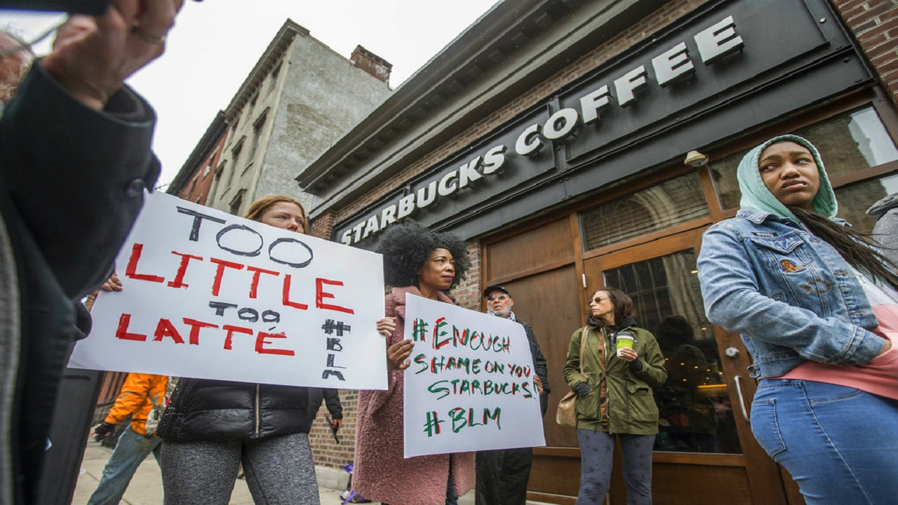 Two dozen protesters took over the Starbucks location where the arrests happened.