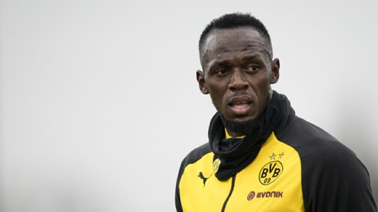 Usain Bolt in Borussia Dortmund training.