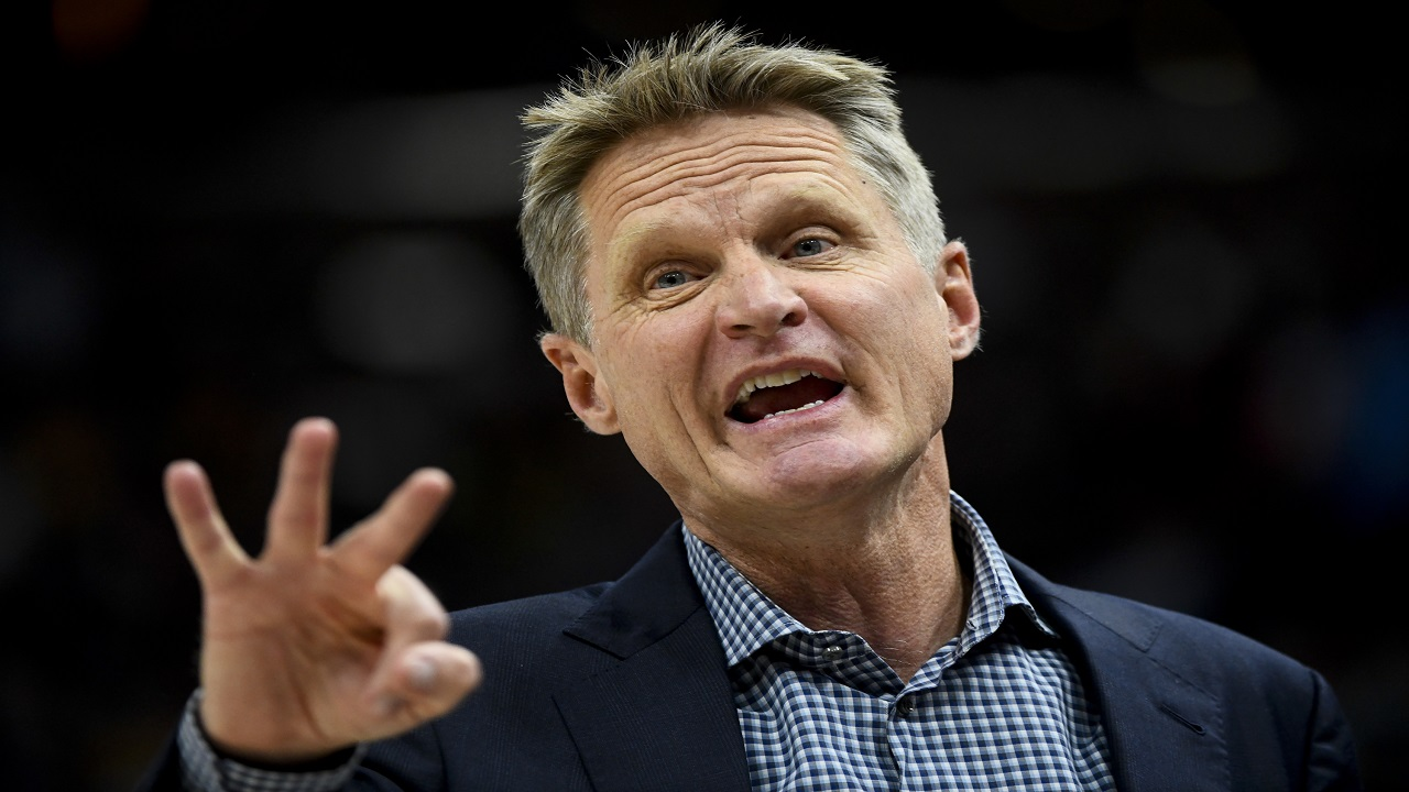 Golden State Warriors head coach Steve Kerr yells to his players in the first half of an NBA basketball game against the Utah Jazz Tuesday, April 10, 2018, in Salt Lake City.