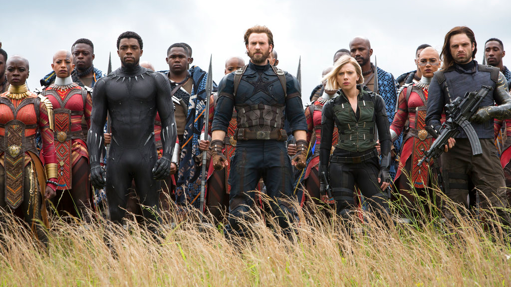 "This image released by Marvel Studios shows, front row from left, Danai Gurira, Chadwick Boseman, Chris Evans, Scarlet Johansson and Sebastian Stan in a scene from ""Avengers: Infinity War"". (Chuck Zlotnick/Marvel Studios via AP)"