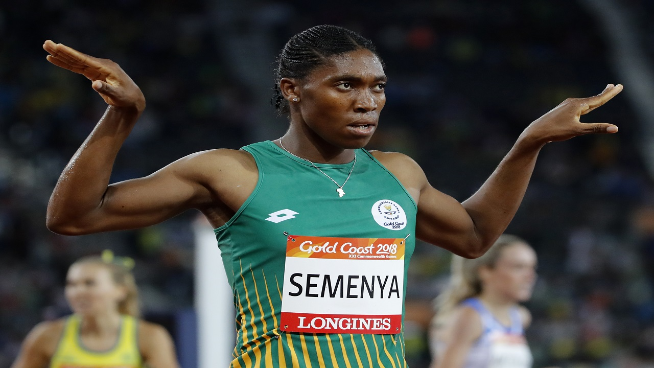 South Africa's Caster Semenya gestures after winning the women's 1500m final at Carrara Stadium during the 2018 Commonwealth Games on the Gold Coast, Australia, Tuesday, April 10, 2018.