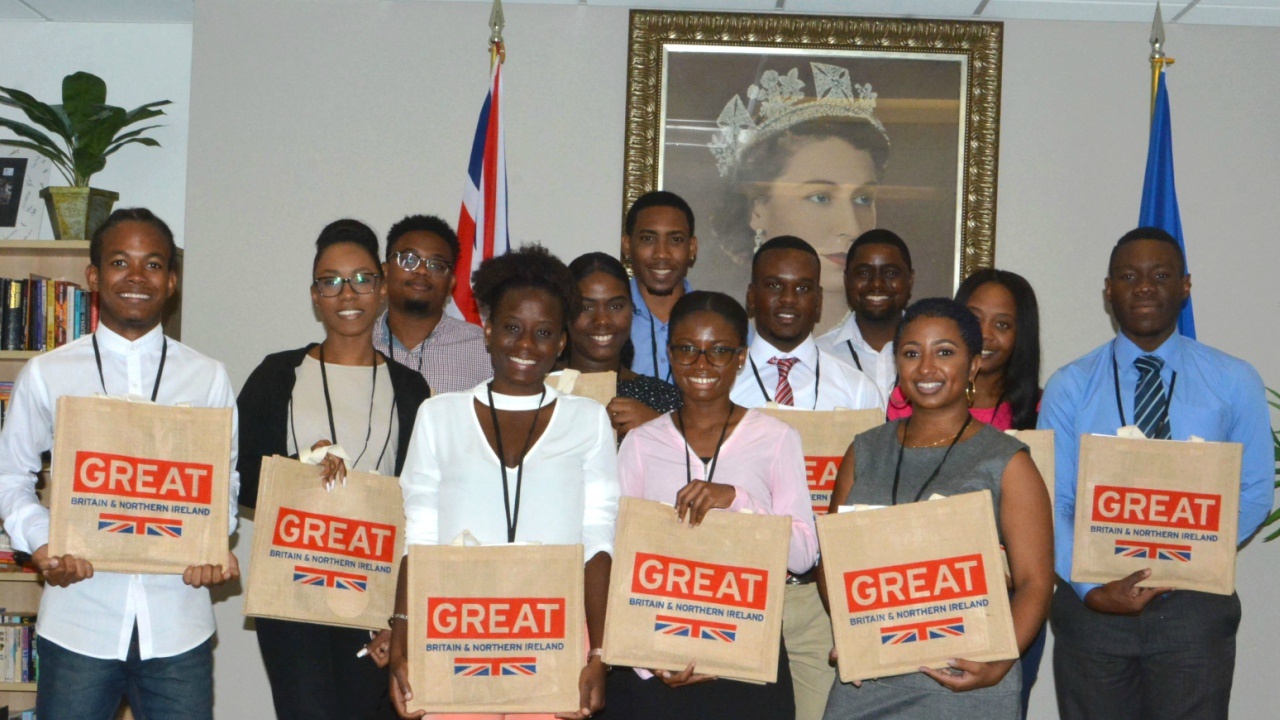 The group of students who visited the British High Commission.