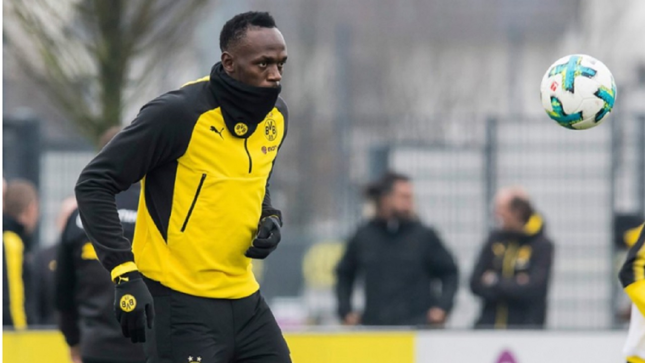 Usain Bolt training at Borussia Dortmund.