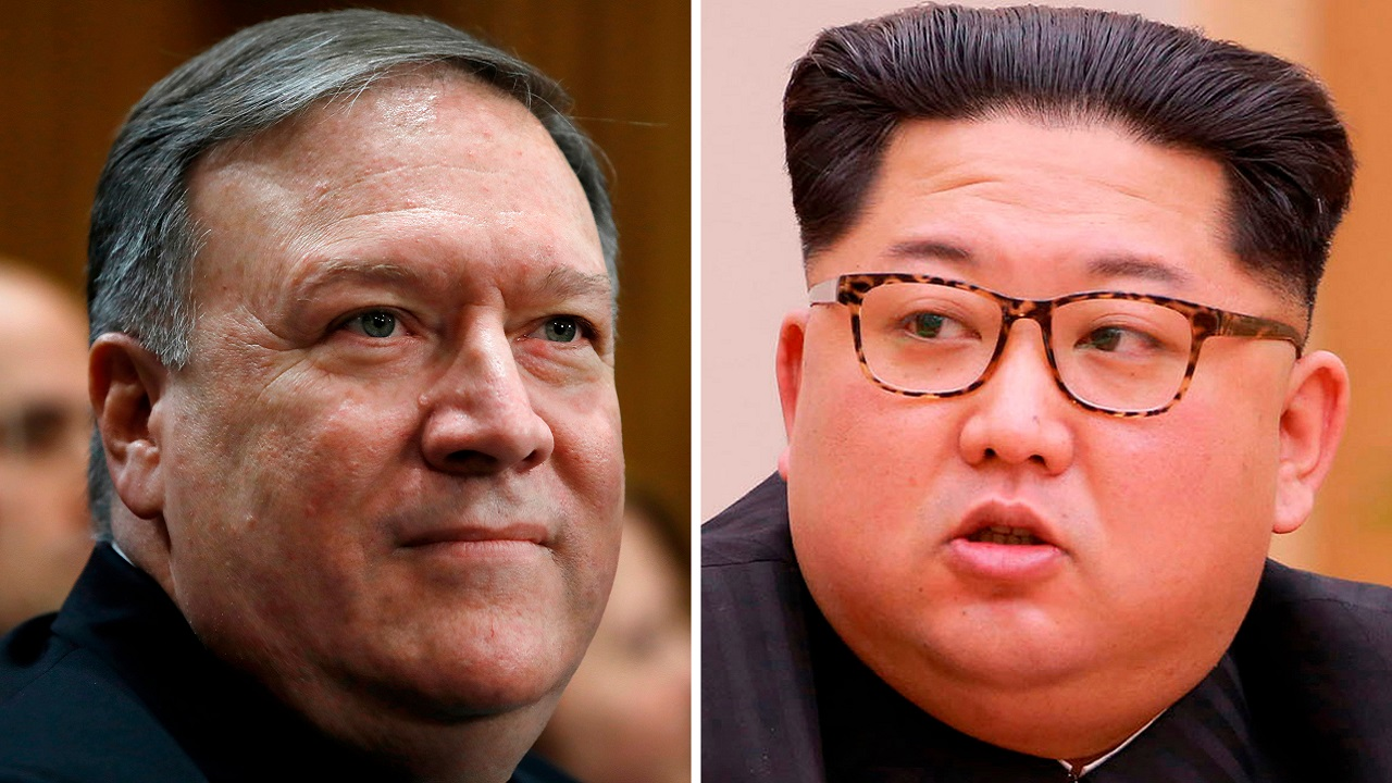 (Image: AP: CIA Director Mike Pompeo (L) and Kim Jong Un (R))