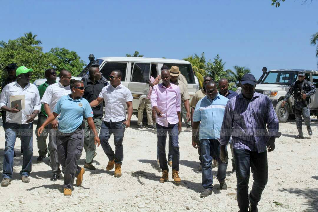 Le président Jovenel Moise arrivant dans la la vallée de l'Artibonite. Photo du ministère de communication
