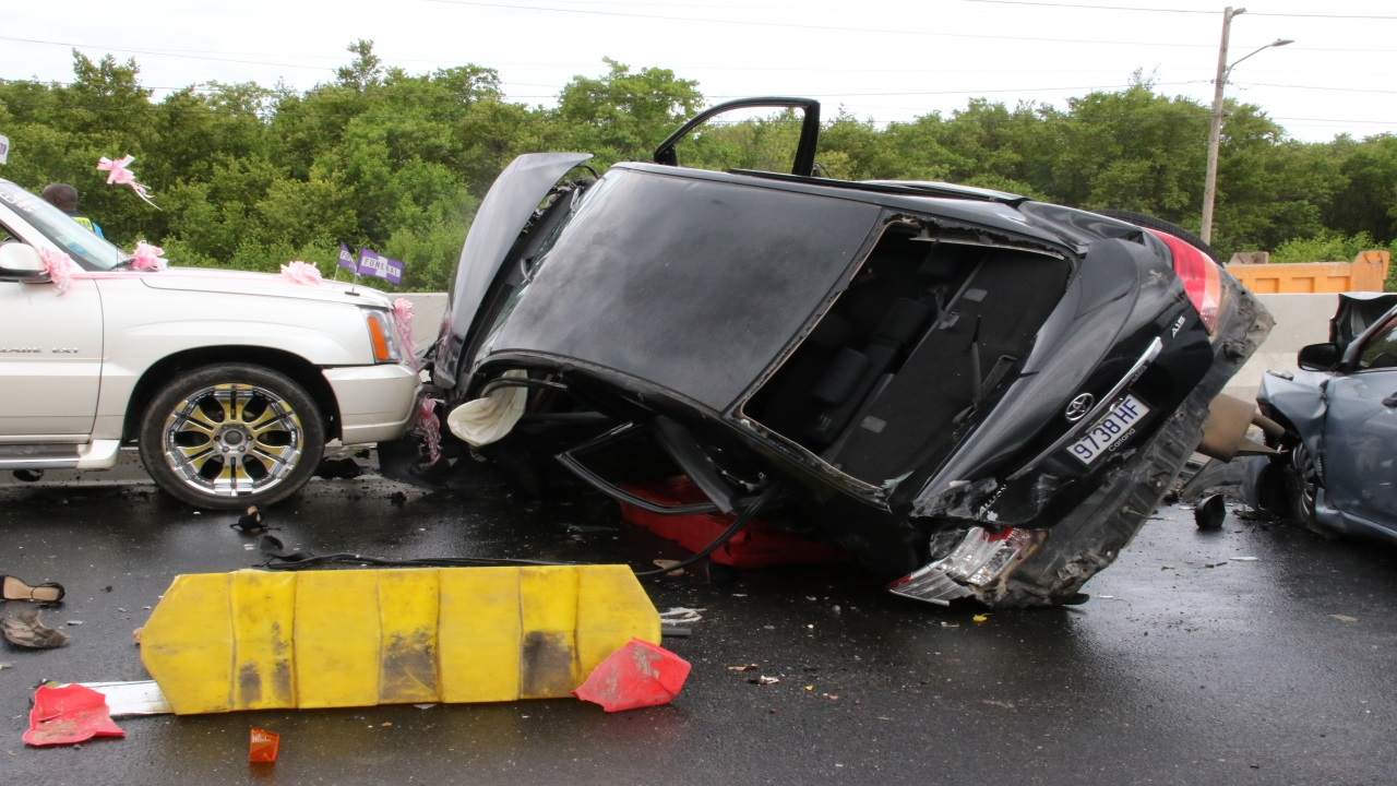 A scene from the fatal, multi-vehicle crash on Mandela Highway on Sunday.