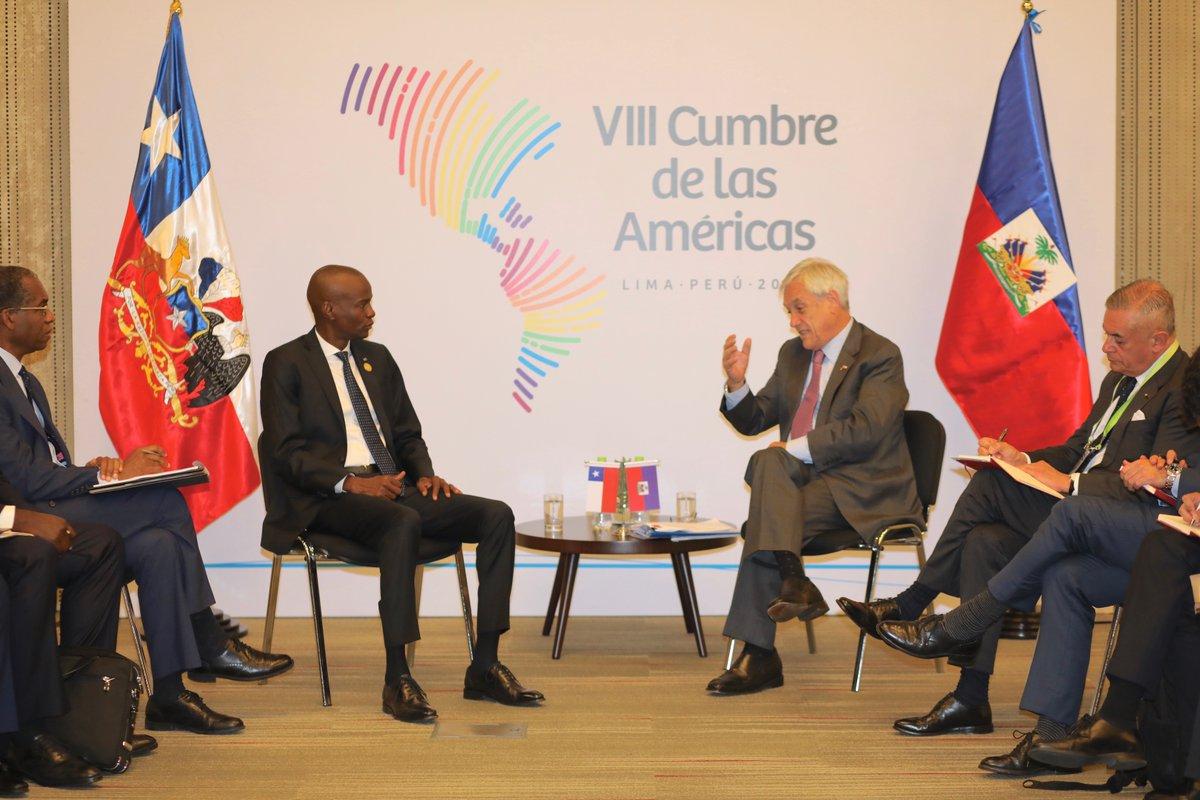 Le président haïtien Jovenel Moïse et son homologue chilien Sebastian Pinera lors du 8ème Sommet des Amériques à Lima le 13 et le 14 avril 2018. (crédit photo :  twitter @moisejovenel)