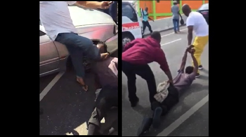 Screenshots of the handling of the man who reportedly chopped a policeman in Christiana, Manchester, on Tuesday.