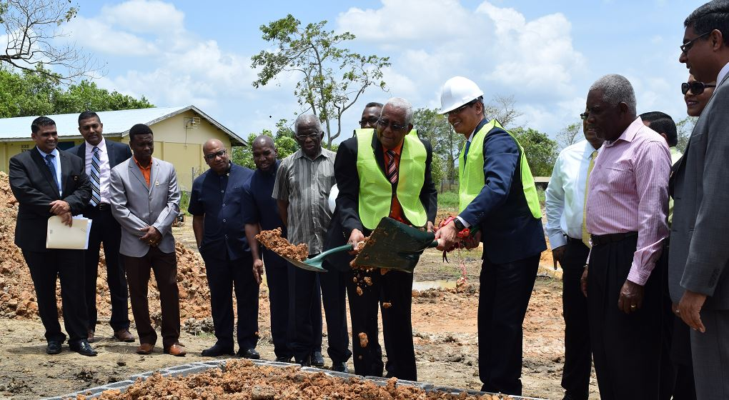 Education Minister Anthony Garcia, TTUTA President Lynsley Doodhai at the sod turning ceremony for the construction of TTUTA's Teachers Training Centre at Carlsen Field, Chaguanas