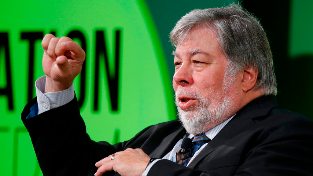 In this July 3, 2017, file photo, Apple co-founder Steve Wozniak gestures as he attends a conference titled 'The Innovation Summit' in Milan, Italy. Wozniak is shutting down his Facebook account as the social media giant struggles to cope with the worst privacy crisis in its history.