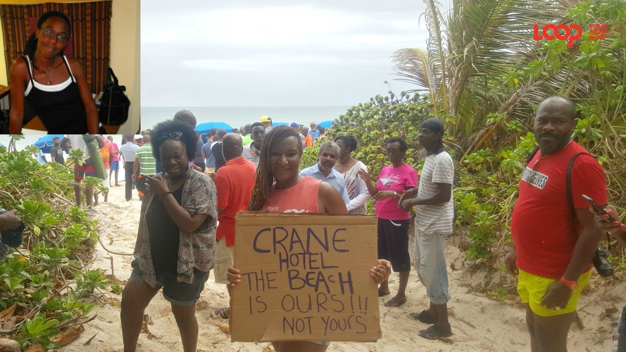 Felisha Holder (inset) received support from those at the Crane Beach protest.