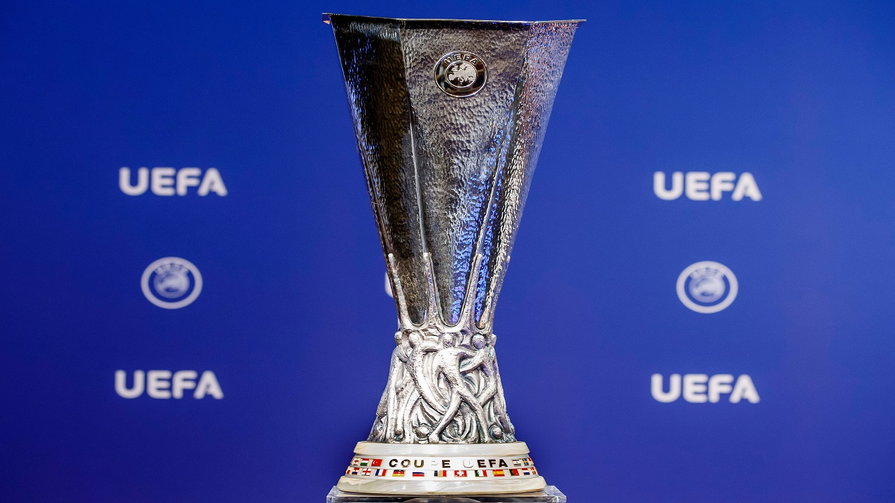 This Monday, June 19, 2017 file photo shows the Europa League trophy.