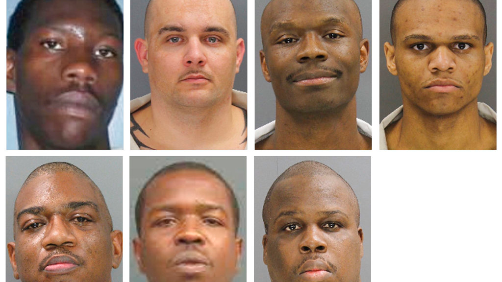 These undated photos provided by the South Carolina Department of Corrections shows, from top row from left, Corey Scott, Eddie Casey Gaskins, Raymond Angelo Scott and Damonte Rivera; bottom row from left, Michael Milledge, Cornelius McClary and Joshua Jenkins. The seven inmates were killed, and at least 17 prisoners wounded, in a riot at the Lee Correctional Institution on April 16