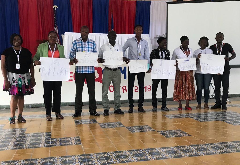 Dernière présentation des 3 principales équipes d'entrepreneurs au TechCamp. Photo : US. Embassy Haiti / Twitter