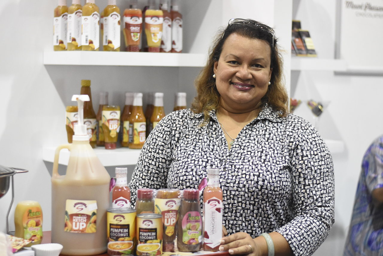 Sandra McLeish (pictured) and her husband Richard want to ripen the taste bud with the sweet and almost tangy taste of pumpkin ketchup, which has been recently added to the shelves at the island's major supermarkets. (Photos: Marlon Reid)