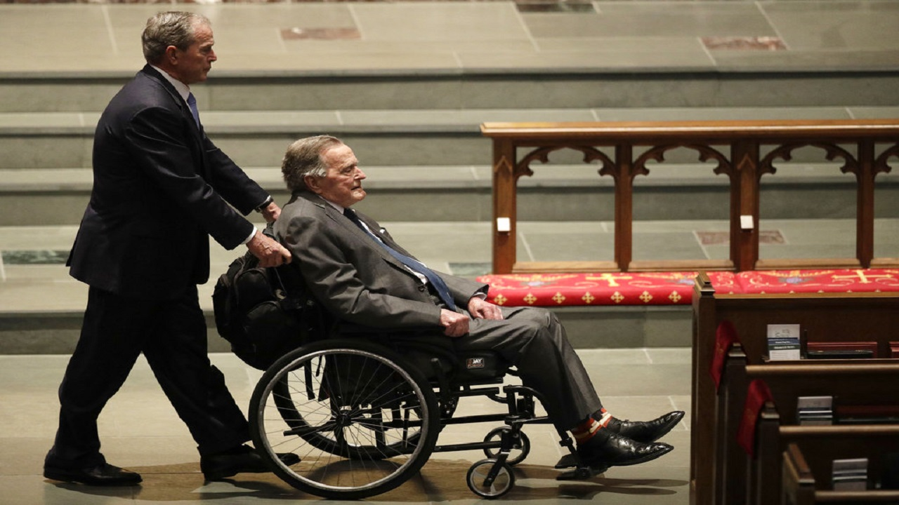 Former Presidents George W. Bush (left) and George H.W. Bush (right) arrive at St. Martin's Episcopal Church for a funeral service for former first lady Barbara Bush, Saturday, April 21, 2018