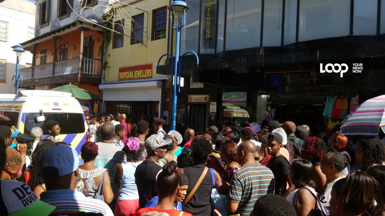 Scene in Bridgetown following the incident