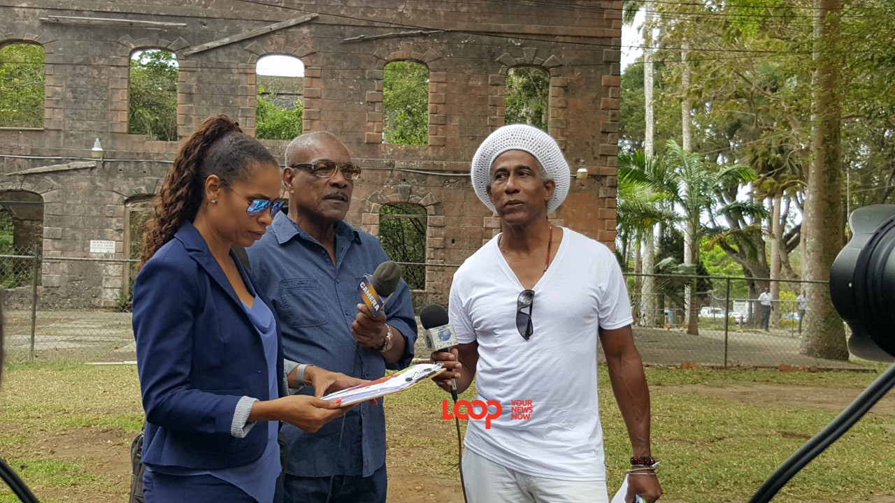 Director Alison Hunte, FAS Director Al Gilkes and Festival Production Coordinator Adisa 'Aja' Andwele spoke to sponsors and security personnel as well as the media at Farley Hill today, April 18, 2018.
