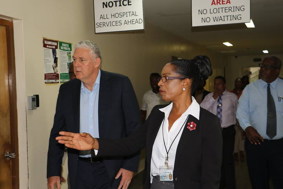 Prime Minister Allen Chastanet on a tour of the George Odlum Stadium St Jude site last year