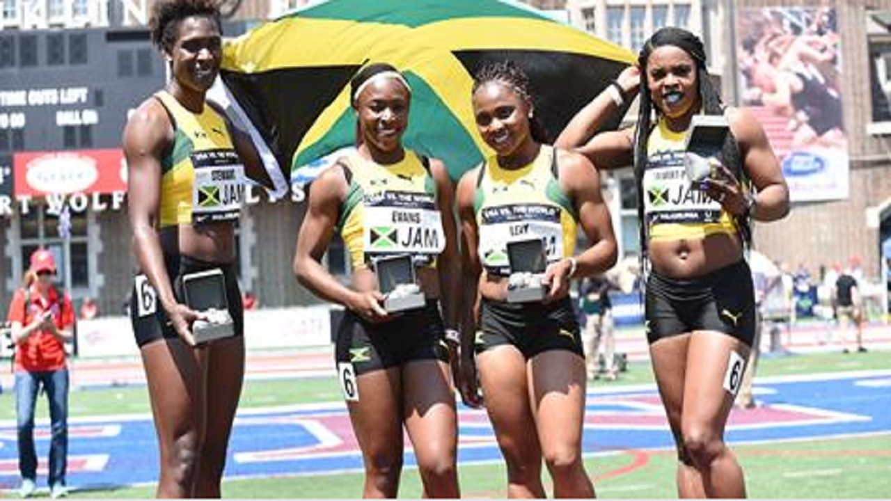 The Jamaican quartet, which won the USA versus the World Women 4x100-metre relay race on Saturday at the Penn Relays, at the University of Pennsylvania in Philadelphia.