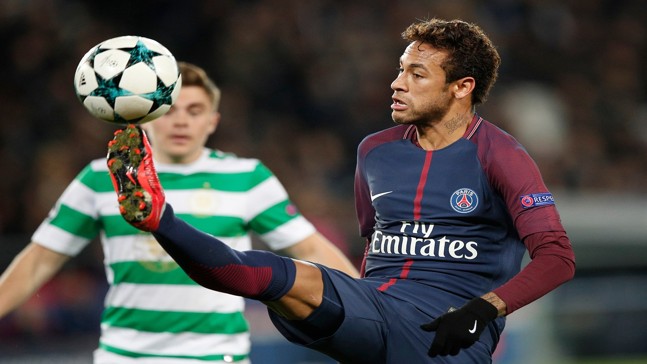 In this Wednesday, Nov. 22, 2017 file photo, PSG's Neymar kicks the ball during a Champions League Group B football match against Celtic at the Parc des Princes stadium in Paris, France.