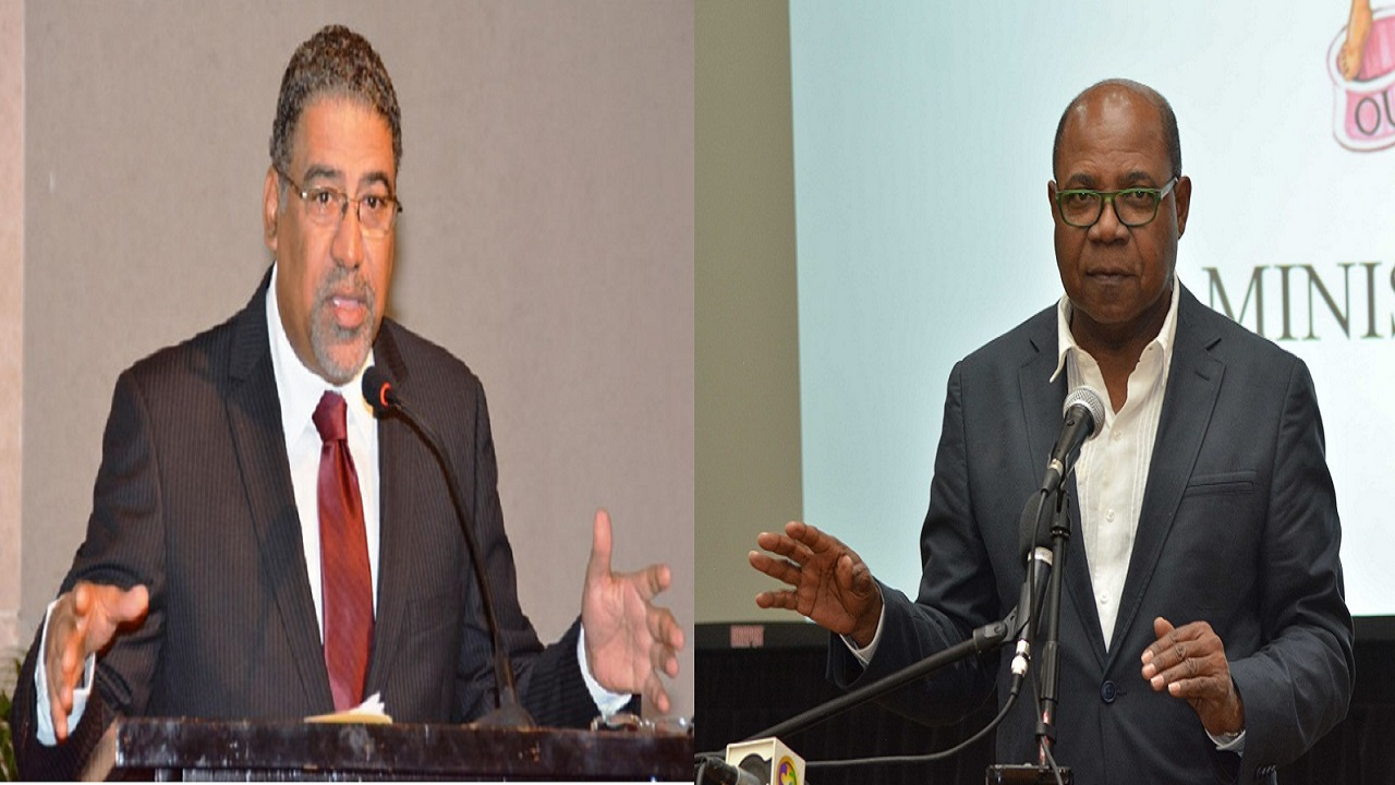 Tourism Minister Edmund Bartlett (left) and Dr Opposition Spokesman on Tourism, Dr Wykeham McNeill (left).