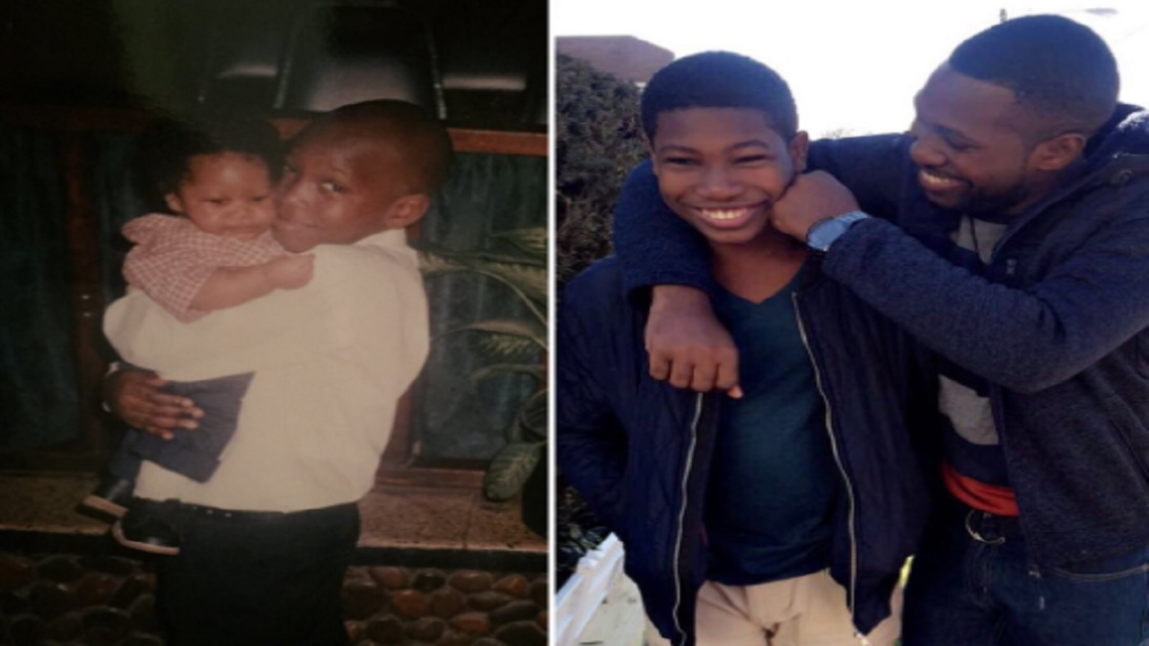 Kingsley Morgan posted these pics of himself with his little brother, Keniel.