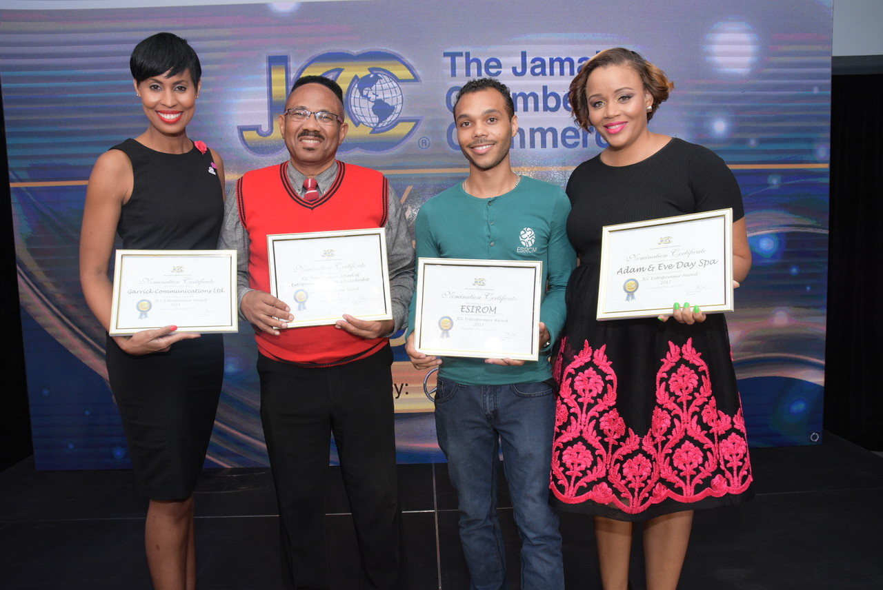 The nominees for the JCC Entrepreneur Award (L - R): Naomi Garrick, CEO, Garrick Communications, Michael Steele, Management Consultant, TIC - The Joan Duncan School of Entrepreneurship, Ethics & Leadership, Alex Morrissey, Director, ESIROM, and Kimesha Walker, Managing Director, Adam and Eve Day Spa.