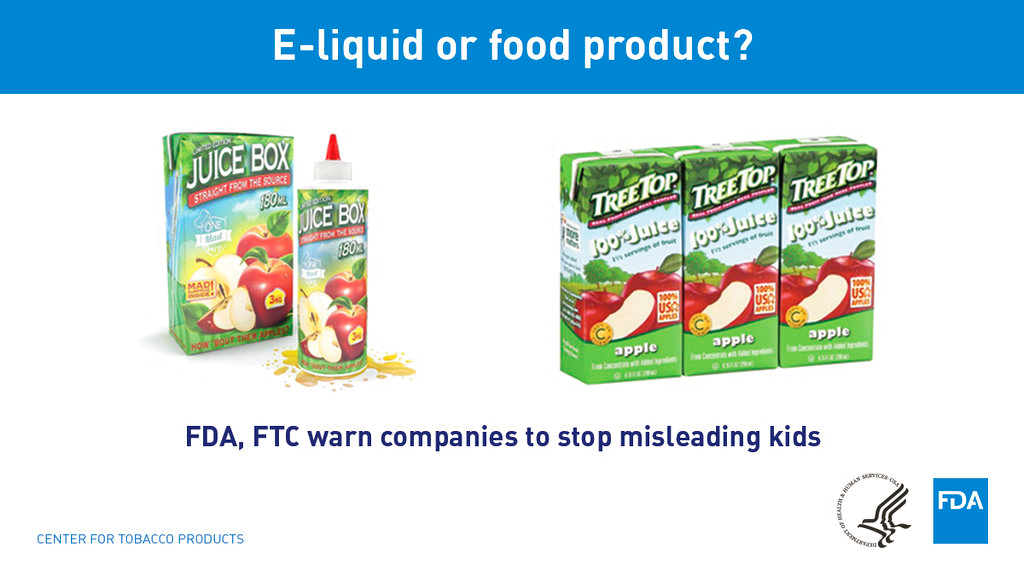 This image provided by the Food and Drug Administration shows an e-liquid nicotine. The US Food and Drug Administration issued warnings Tuesday, May 1, 2018, to more than a dozen makers of liquid nicotine for packaging their vaping formulas to resemble children's juice boxes, candies and cookies. (FDA via AP)