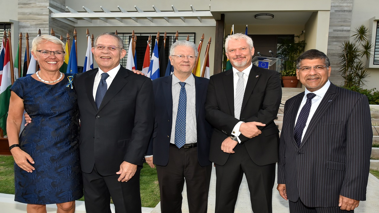 From left: Ambassador Malgorzata Wasilewska, Head of the Delegation of the European Union to Jamaica; Former Prime Minister of Jamaica Bruce Golding; French Ambassador to Jamaica, Jean Michel-Despax; German Ambassador to Jamaica, Joachim Christoph Schmillen and British High Commissioner to Jamaica, Asif Ahmad to Jamaica. They were at Europe Day on Wednesday.
