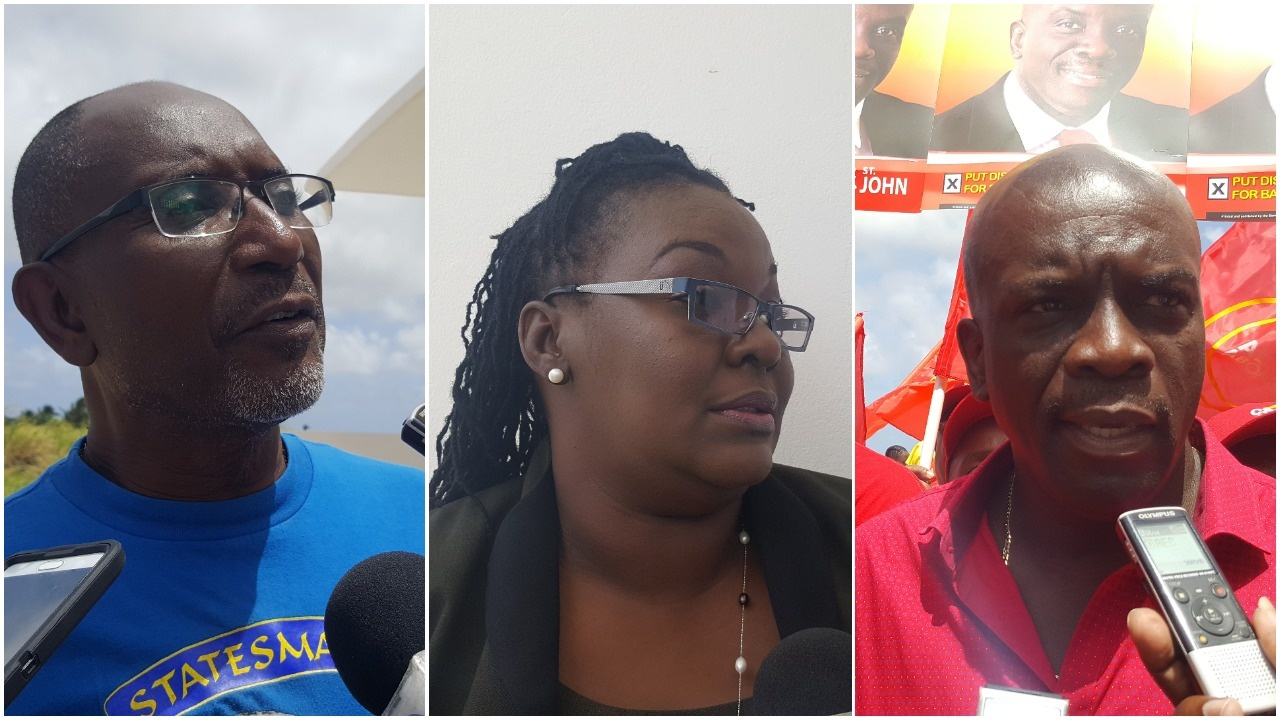 Independent candidate Leroy McClean, Solutions Barbados candidate Cherone Martindale, and BLP Candidate Charles Griffith.