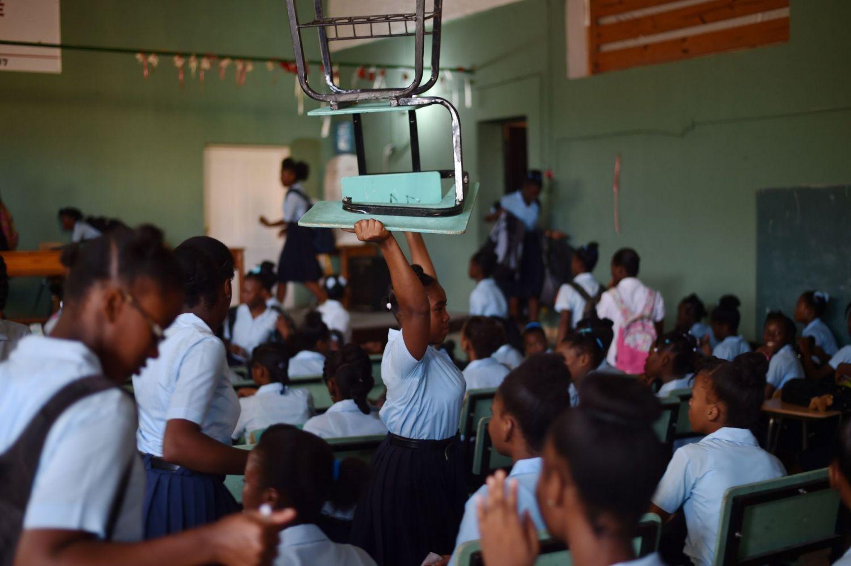 Une salle de classe en Haiti. Photo: Le Devoir