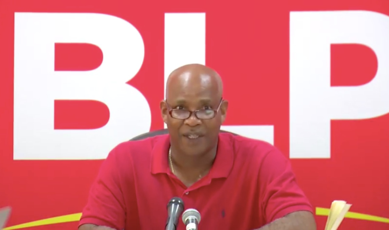 Dale Marshall at the Barbados Labour Party Roebuck Street headquarters today.