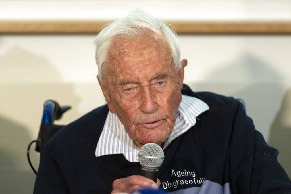 104-year-old Australian scientist David Goodall speaks during a press conference a day before his assisted suicide in Basel, Switzerland.  (Georgios Kefalas/Keystone via AP)