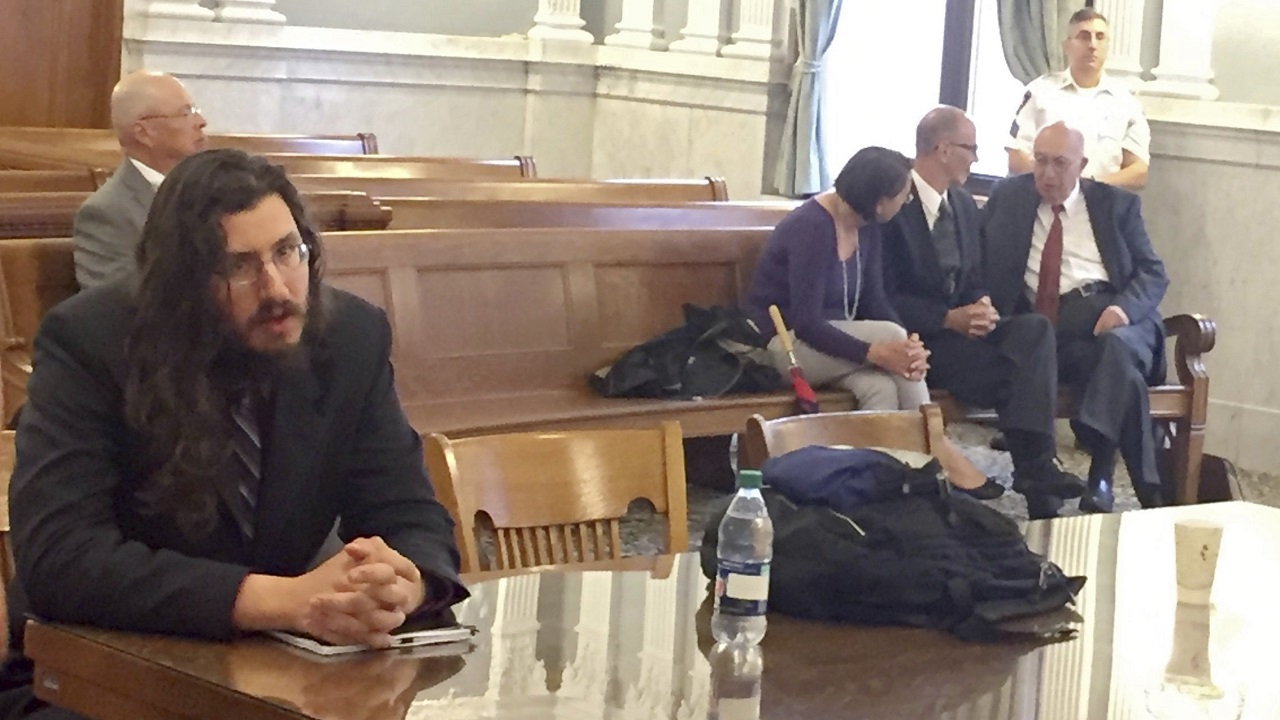 (Image: AP: Michael Rotondo, left, sits in court in Syracuse, US, on 22 May 2018)