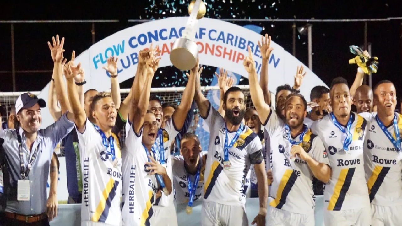 Club Atletico Pantoja´s players celebrate after winning the Flow Concacaf Caribbean Club Championship on May 13, 2018 at Anthony Spaulding Sports Complex in Kingston, Jamaica. (PHOTO: Concacaf.com)