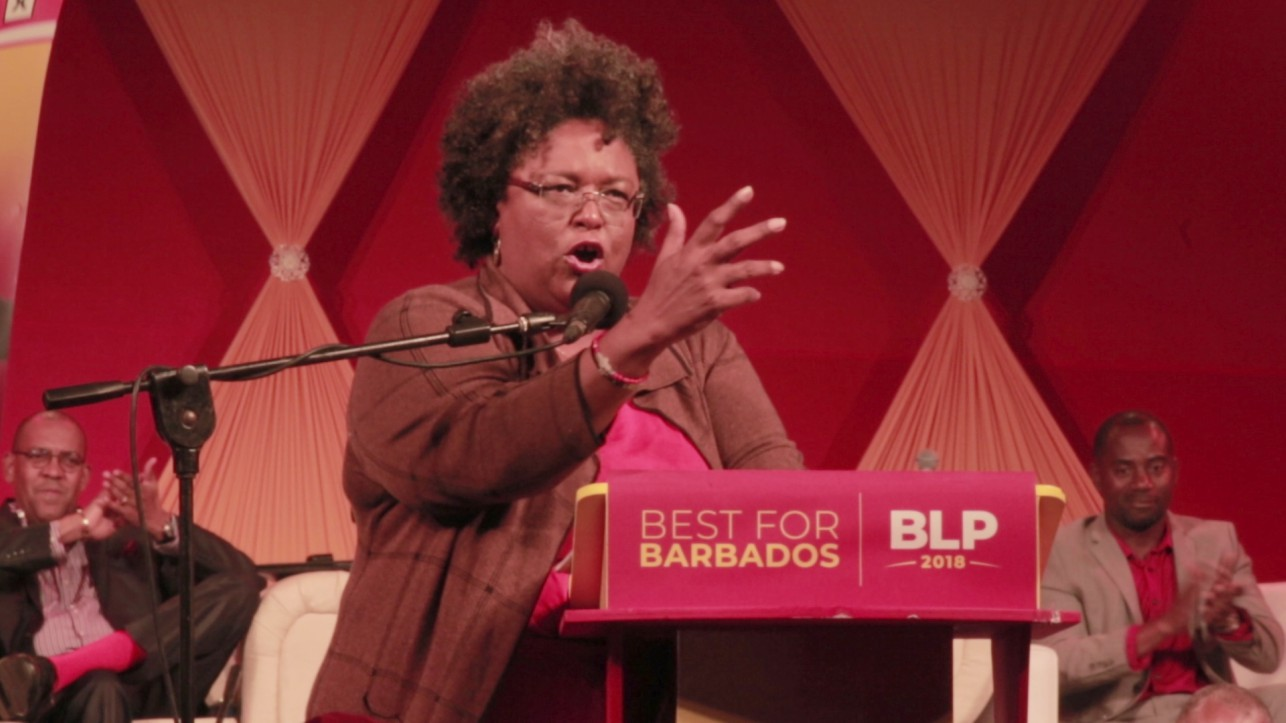 Leader of the BLP, Mia Mottley speaking at the party's manifesto launch on Thursday night.  (Photo: Reginald Gittens)