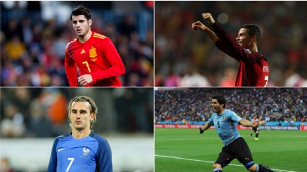 Alvaro Morata (top left), Cristiano Ronaldo (top right), Antoine Griezmann (bottom left) and Luis Suarez (bottom right)