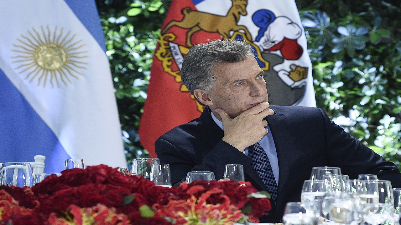 Argentina's President Mauricio Macri attends a lunch with Chiles President Sebastian Pinera at the Casa Rosada government house in Buenos Aires, Argentina, (AP Photo)