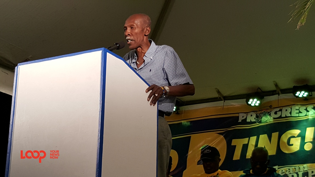 Hal Gollop Q.C. at Ruby, St. Philip, speaking on the Democratic Labour Party platform