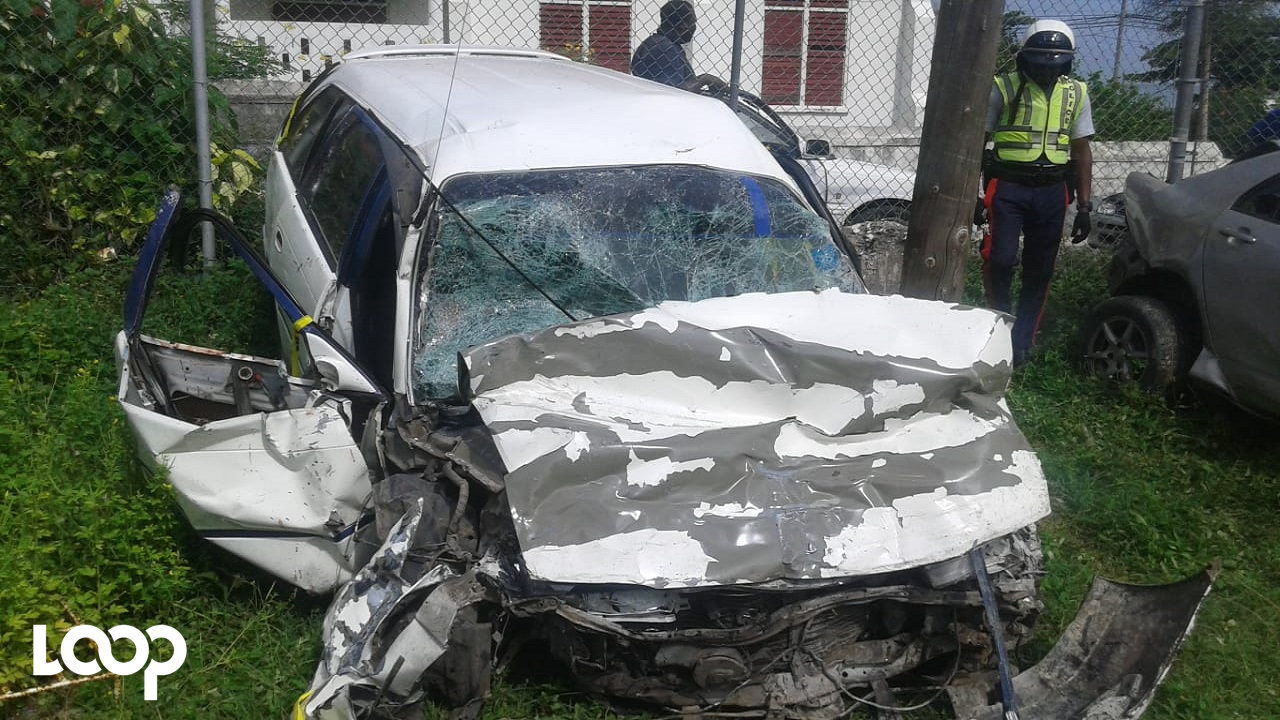 One of the motor cars involved in the fatal crash in Hanover on Sunday.