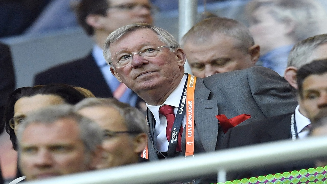 In this file photo dated Wednesday, May 24, 2017, former Manchester United manager Alex Ferguson, during a Europa League final against Ajax Amsterdam at the Friends Arena in Stockholm, Sweden. Manchester United said Saturday May 5, 2018, that former manager Alex Ferguson has undergone emergency surgery for a brain haemorrhage.
