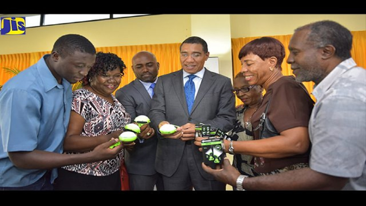 Prime Minister Andrew Holness (centre), and Science, Energy and Technology Minister, Dr Andrew Wheatley (third left), examine solar lanterns that were handed over to seven constituencies at the Office of the Prime Minister on April 30. Also examining the lanterns (from left) are Zavia Walker, Kathleen Grant, Jean Dallas, Sandra LaTouche and Samuel Williams, representing the various constituencies.