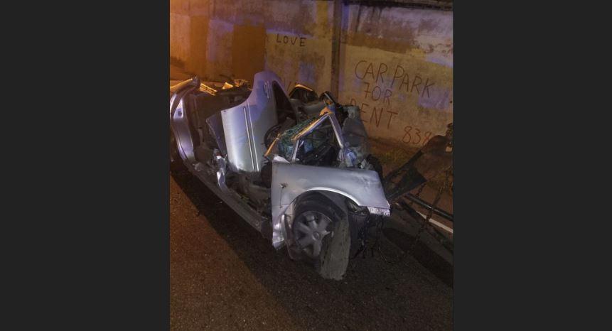 The wreckage of Darren Pemberton's Nissan B14 vehicle.