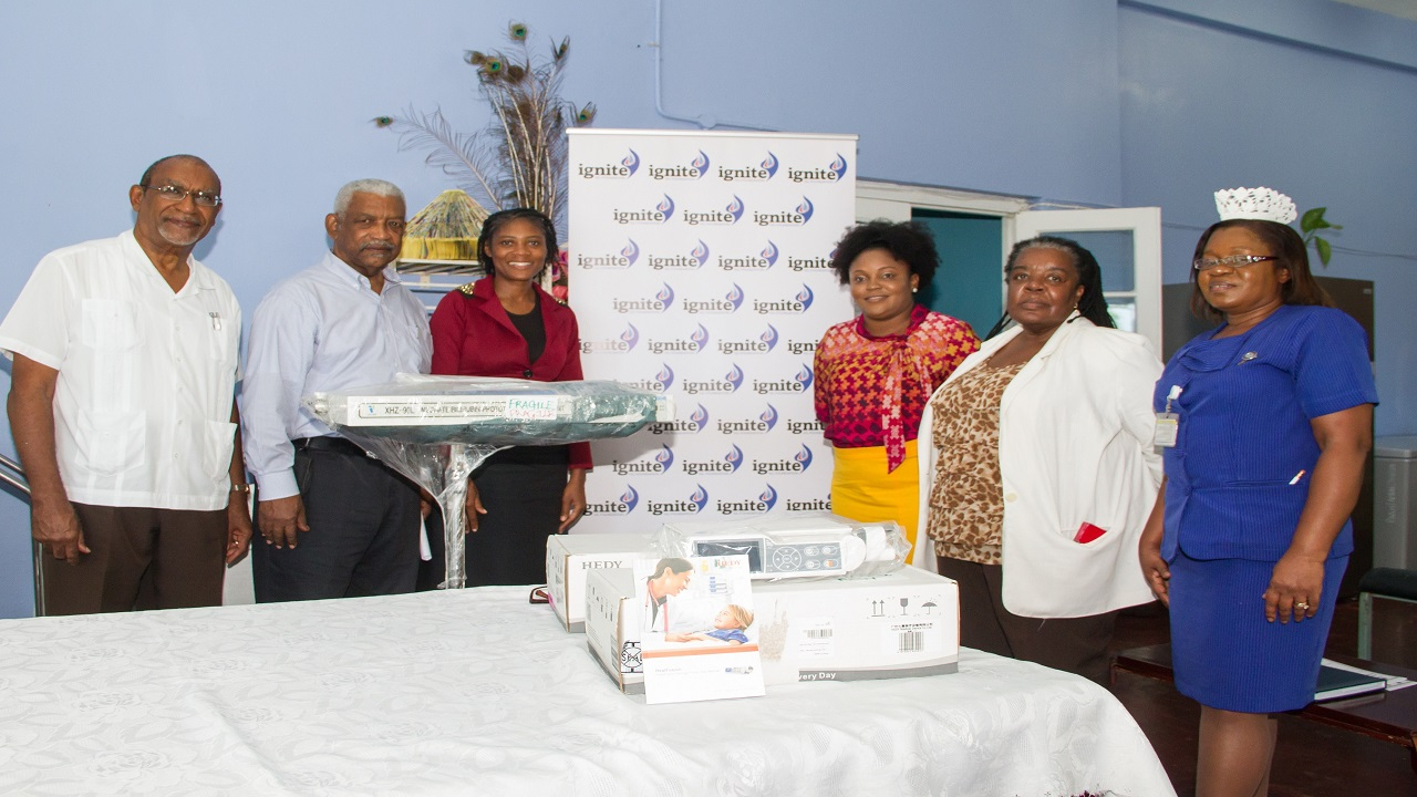From left: Dr. Cecil Batchelor, Senior Medical Officer, Princess Margaret Hospital; Bevon Francis, Board Chairman, IGL Limited; Dionne Betty, CEO, Princess Margaret Hospital; Melecia Linton, Acting Administrator, Princess Margaret Hospital, Dr. Yvette Pusey, Consultant Gynecologist; and Beverley Berry, Director of Nursing Services, Princess Margaret Hospital, at the handing over ceremony of medical equipment to the Pediatric Ward by Ignite IGL Foundation.