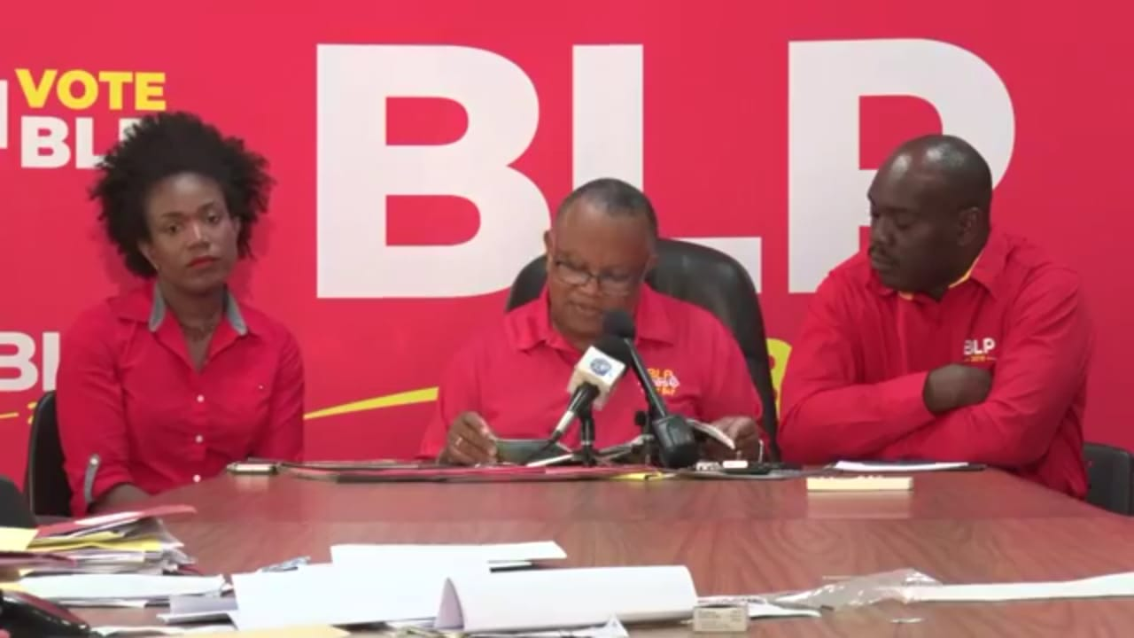 (Left to Right) Economist Marsha Caddle, Dr Jerome Walcott and Economist Ryan Straughan at thw BLP Press Conference.