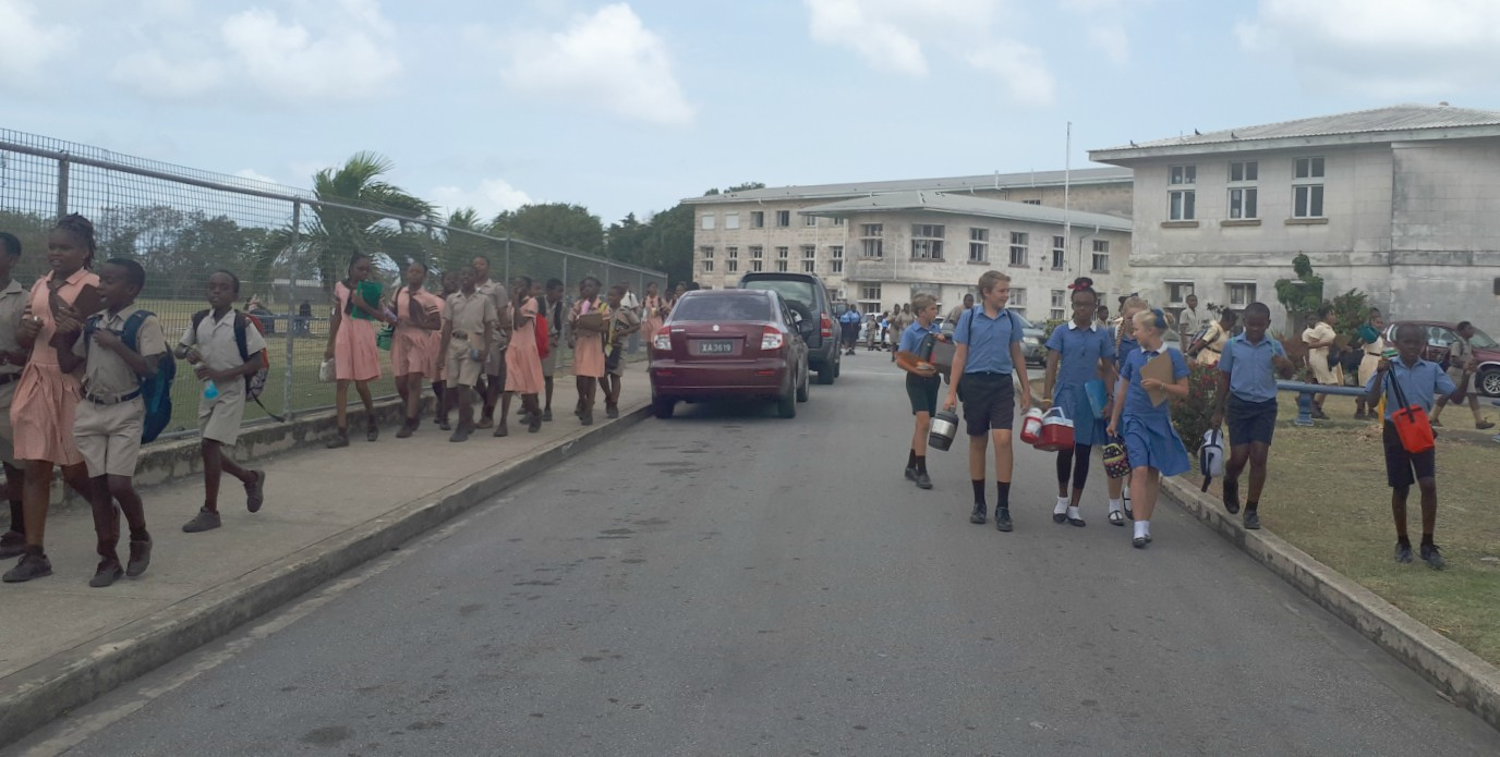 Students leaving the Examination Center at the Combermere School.